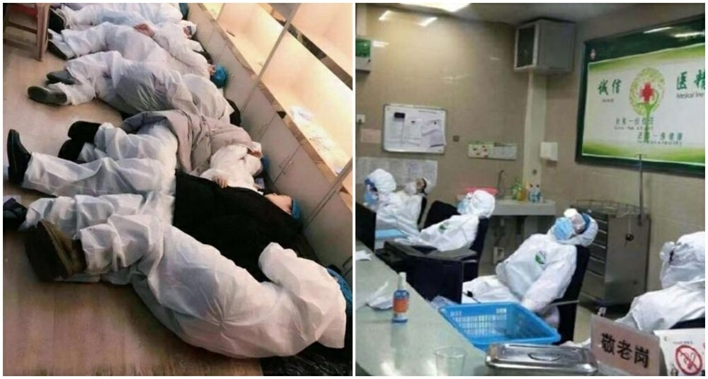 Medical Staff Exhausted From Treating Wuhan Patients Sleep On Hospital Floors & Chairs - WORLD OF BUZZ 3