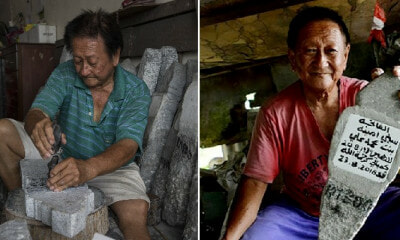 M'sian Carver Made Headstones for 40 Years By Hand, Can Even Write Jawi For Muslim Graves - WORLD OF BUZZ 4