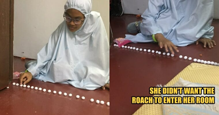 M'sian Girl Lines Up Mothballs to Prevent Cockroaches From Entering Her Room, Netizens Are Entertained - WORLD OF BUZZ 6