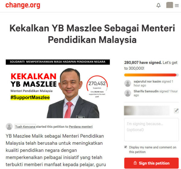 Netizens Create Petition to Have Dr Maszlee Bin Malik Back As Minister of Education - WORLD OF BUZZ 1