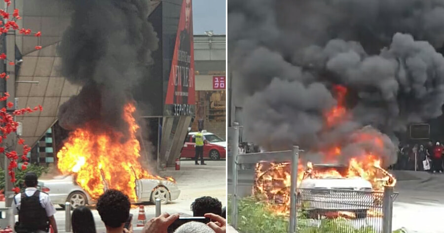 Watch: Car Bursts Into Flames Right Outside Pavilion KL Shopping - WORLD OF BUZZ