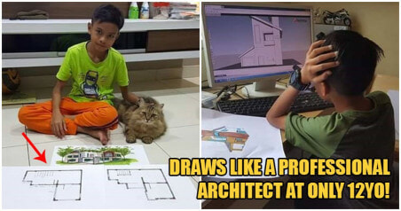 Photos: Talented 12yo Johor Boy Sketches Like A Pro Architect & Lead His House's Renovations! - WORLD OF BUZZ