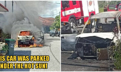 Rawang Man's Car Completely Destroyed After A Powerbank He Left In His Car Caught Fire - WORLD OF BUZZ