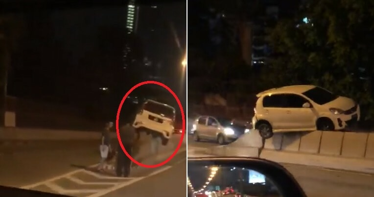 """Video: """"flying"""" Myvi Gets Stuck On Top Of Divider At Jb, Netizens Amazed - World Of Buzz 2"""
