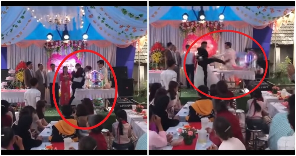 Watch: Groom Shockingly Ruins Wedding By Kicking Champagne, Turns Out The True Culprit Is Someone Else! - WORLD OF BUZZ 2