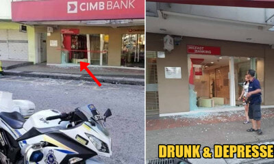 Drunk M'sian Businessman Rams Into Bank With Car & Claims to Be Depressed After Self-Quarantine for 14 Days - WORLD OF BUZZ