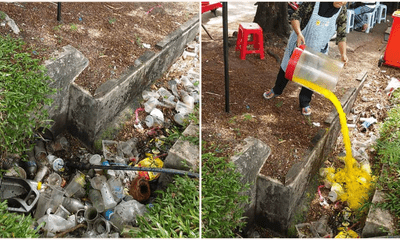 M'sian Street Vendor Pouring Leftover Drink Into Trash-Ridden Drain Causes Netizens To Debate - WORLD OF BUZZ