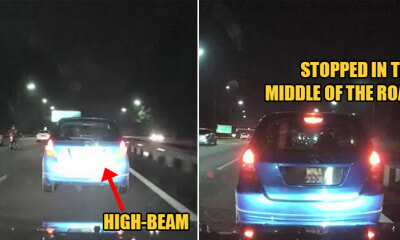 Watch: M'sian Fast Lane Hogger Stops in the Middle of the Highway After Car High-Beams Him - WORLD OF BUZZ
