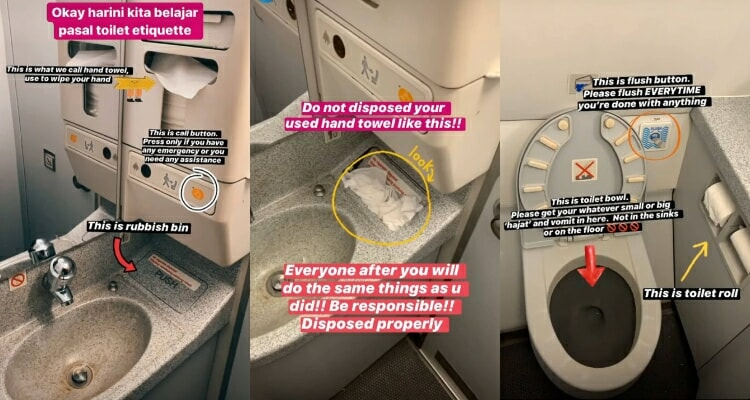 AirAsia Flight Attendant Teaches Everyone The Toilet Etiquette on an Aeroplane - WORLD OF BUZZ 2