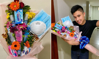 This Guy Made  Anti-Corona Bouquet Out of Face Mask & Hand Sanitiser for Valentine's Day - WORLD OF BUZZ