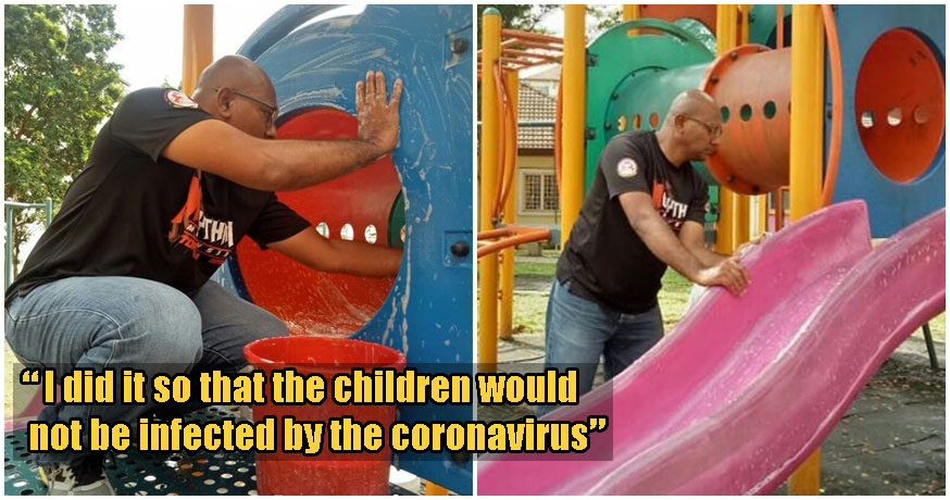 Kind Selangor Man Cleans Local Playground Himself To Protect Children From Coronavirus Infections - WORLD OF BUZZ