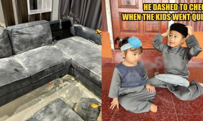Terengganu Dad Leaves Kids Unattended, Only To Find Milk Powder Spilt All Over The Couch - World Of Buzz