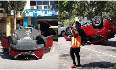 Unlicensed Foreign Worker Puts Car In Reverse Instead Of Drive, Overturns Cheras Woman's New Mazda - WORLD OF BUZZ 2