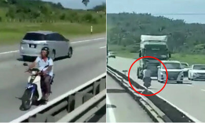 Video: Rider Rides Motorbike Against The Traffic On A Highway, Narrowly Escapes Big Lorry - WORLD OF BUZZ 3