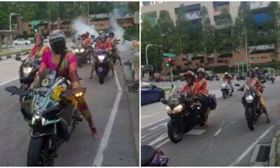 Watch: Badass Bride In Pink Saree Leads Motorcycle Convoy To Her Own Wedding On A Kawasaki - World Of Buzz 1
