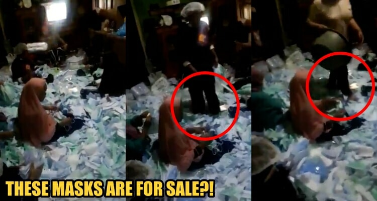 Watch: Workers Seen Walking Barefoot on Surgical Masks Meant for Repackaging for Sale - WORLD OF BUZZ 2