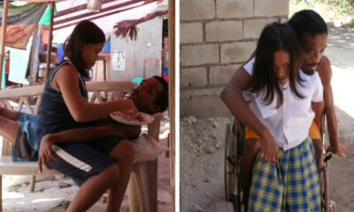 11yo Girl Feeds & Carries Her Disabled Father Everyday, Putting Aside Studies & Childhood - WORLD OF BUZZ