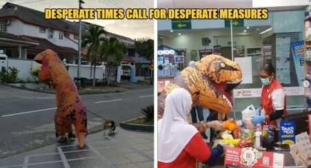 MCO: M'sians Get Creative & Put On A Dino Suit Out To Curb The Spread Of Covid-19 - WORLD OF BUZZ