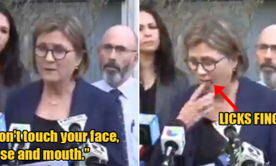 Watch: Health Director Tells Public Not to Touch Their Face, Nose & Mouth Then Licks Her Finger - WORLD OF BUZZ