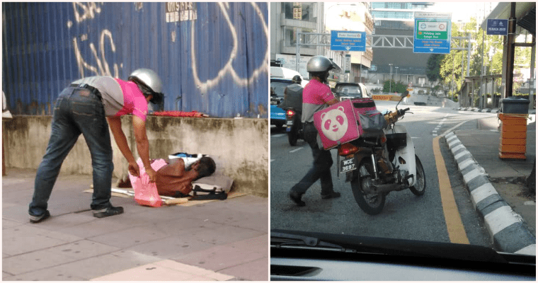 Kind Foodpanda Rider Leaves Food For Homeless Man Sleeping On The Streets Of KL - WORLD OF BUZZ