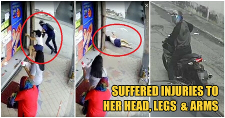 Beware: Klang Snatch Thief Violently Grabs Woman's Handbag As She Lines Up To Buy Face Masks - WORLD OF BUZZ 1