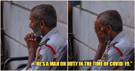 """He's a Man On Duty In The Time of Covid-19"", Security Guard Caught Praying As The Rest Of M'sia Stays In - WORLD OF BUZZ"