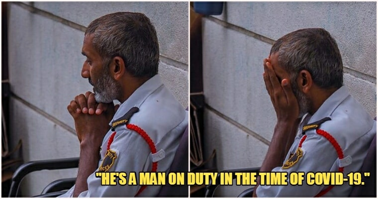 """""""He's a Man On Duty In The Time of Covid-19"""", Security Guard Caught Praying As The Rest Of M'sia Stays In - WORLD OF BUZZ"""