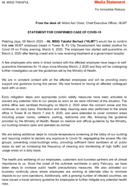 JUST IN: Takaful Hong Leong in PJ Releases Statement Confirming Malaysia's 100th Covid-19 Case - WORLD OF BUZZ 1