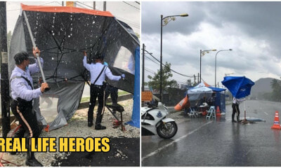 Rain Or Shine, PDRM Officers Choose To Maintain Their Post Instead Of Celebrating Police Day - WORLD OF BUZZ 4