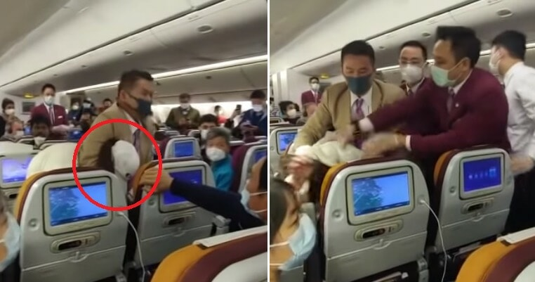 Thai Airways Cabin Crew Forcibly Restrain Passenger Who Purposely Coughed On Flight Attendant - World Of Buzz 3