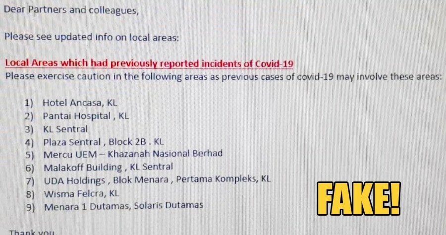 Viral WhatsApp Message Listing 9 Places in KL Associated with Covid-19 is FAKE! - WORLD OF BUZZ
