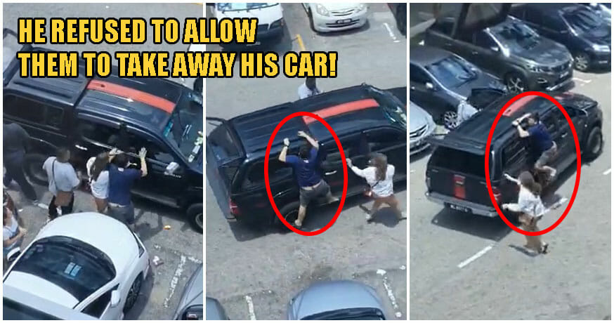 Watch: Johor Man Desperately Clings To His Car After Bank Staff Allegedly Tried To Tarik Balik It - WORLD OF BUZZ
