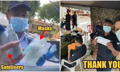Watch: Selfless M'sians Give Out Masks & Sanitisers To Our Abang-Abang Polis - WORLD OF BUZZ 2