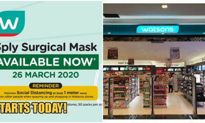 Watsons Malaysia Is Now Selling Packs of Face Masks For RM7.50 Each At Selected Outlets! - WORLD OF BUZZ