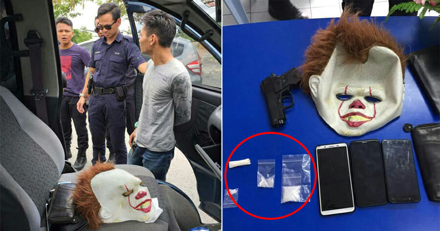 PDRM Arrests Two Drug Dealers With Clown Mask in Kuching - WORLD OF BUZZ