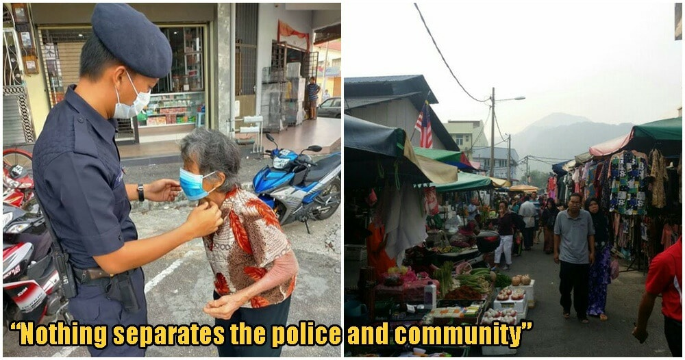 Heartwarming Photo Of PDRM Officer Giving Elderly Woman A Facemask Restores Hope Amidst Bleak Period - WORLD OF BUZZ 2