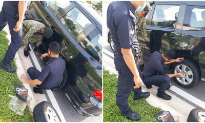 "PDRM Officers & Army ""Oppa"" Selflessly Helps Malaysia Doctor To Replace Burst Tyre - WORLD OF BUZZ 2"