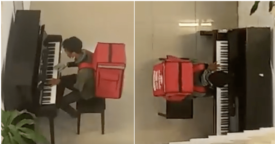 Watch: Abang Delivery Shows Off His Piano Skills While Waiting For The Food To Be Prepared - WORLD OF BUZZ 1