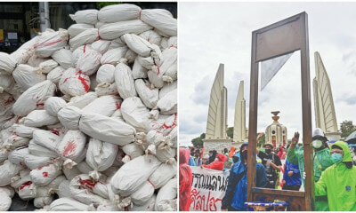 Mountain Of Mock Corpses And Guillotine During The Thai Protest