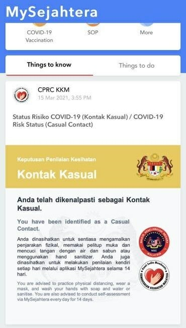 Casual Contact Mysejahtera