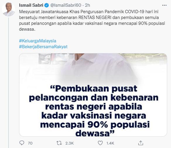 Pm Ismail Sabri Twitter Interstate Travel