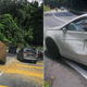 Large Boulder Fell On Car In Penang